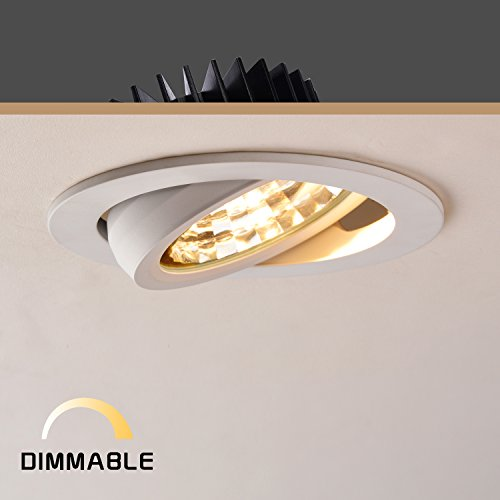 OBSESS 12W 4-Inch LED Ceiling Light Downlight Spotlight Recessed Lighting Fixture Adjustable Gimbal Downlight Recessed LED Downlight-Warm White 3000K,900 Lumen,Dimmable(Kitchen ceiling (Gimbal Spotlight)