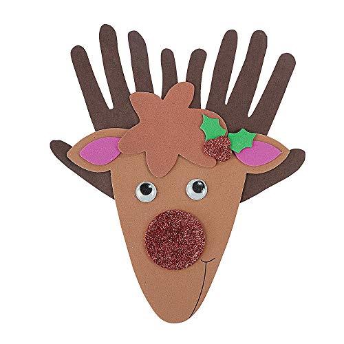 Set of 12 Cute Handprint Reindeer Decoration w Red Glitter Nose Foam Craft Project Kit