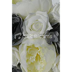 Ivory & Grey Bridesmaids Bouquet with Roses Peonies & Anemones 2