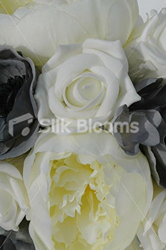 Ivory-Grey-Bridesmaids-Bouquet-with-Roses-Peonies-Anemones