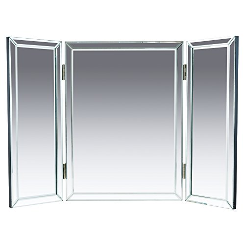 "Houseables Trifold Vanity Mirror, 3 Way, 31"" x 1"" x 21"", Single, Tri Fold, Big Mirrors For Tables, Bedrooms, Bathroom, Makeup, Tabletop, Centerpiece, Three Part, With Beveled Edges - Small Deco Leaf Edge"