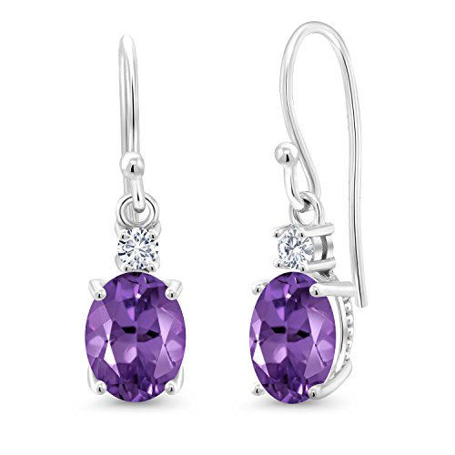 (10K White Gold Dangle Earrings Oval Purple Amethyst and Forever Classic Created Moissanite 0.12ct (DEW) by Charles & Colvard)