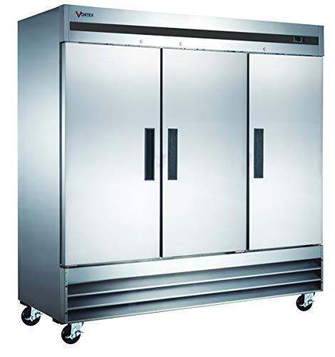 Vortex Refrigeration Freezer 3 Solid Door Commercial Stainless Steel - 72 Cu. Ft. High Performance!