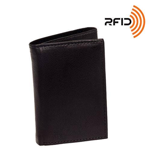 Men's Top Grain Cowhide Leather RFID Trifold Wallet (Ross Michaels, Black) ()