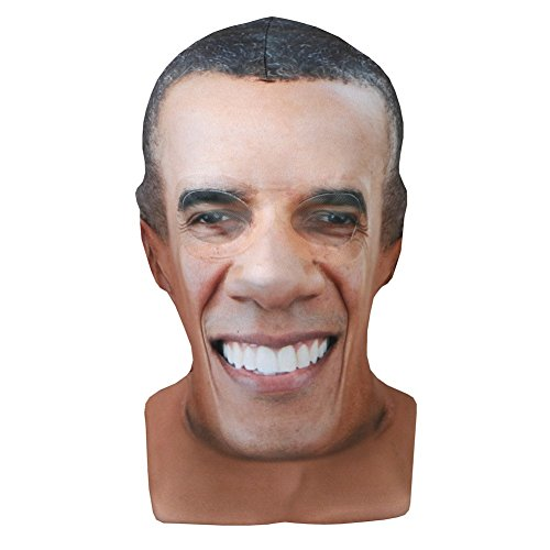 Faux Real Men's Barack Obama Printed Face Mask - President Halloween Costume -
