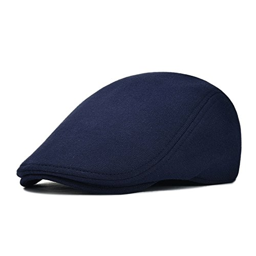 VOBOOM Men's Cotton Flat IVY Gatsby newsboy Driving Hat Cap (Style2-Navy) (Cabbie Hats For Men)