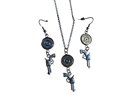 (Stainless Steel Bullet Necklace and Earrings with Revolver Charm and Nickel 45 Caliber Bullet. S679)