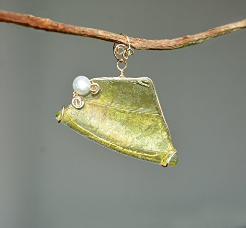 Gold Filled Green Ancient Roman Glass Pendant with a Pearl. Green Roman Glass Pendant. One of a Kind.