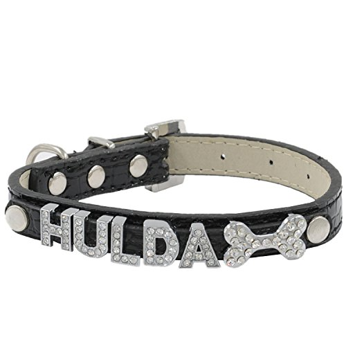 (Petholder Personalized Fashion Leather Pet Dog Cat Collar with Rhinestone Buckle Top Quality Crystal Free Name (up to 6 free letters) & Charm (1 free charm) Small Medium Large )