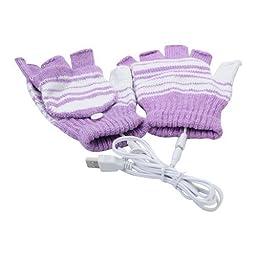 Lsgoodcare Purple USB 2.0 Stripe Pattern Fingerless Heating Knitting Wool Hands Warm Gloves Gloves for Women Men Girls Boys