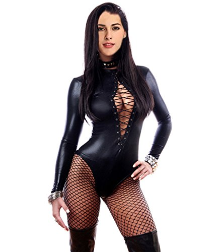Fashion Queen Women's Sexy Lace-up Front Bodysuit Leather Teddy Lingerie Long Sleeve (XXL, Black) ()