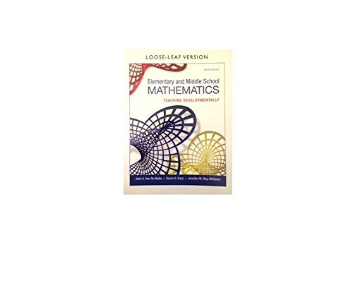 Books : Elementary and Middle School Mathematics: Teaching Developmentally