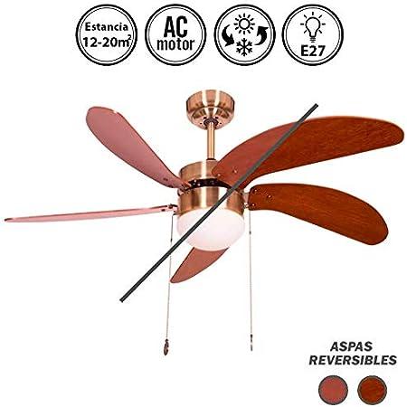 Ventilador de techo mod. Cibeles con luz, 107 cm. cuero satinado 5 palas reversibles cerezo-nogal, AkunaDecor.: Amazon.es: Hogar