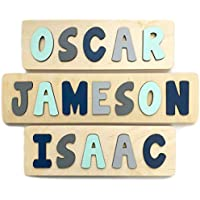 Personalized Wooden Name Puzzle, Gift for One or Two Year Old Boy, Mint, Navy and Grey, Handmade in the USA by Page Brook Market