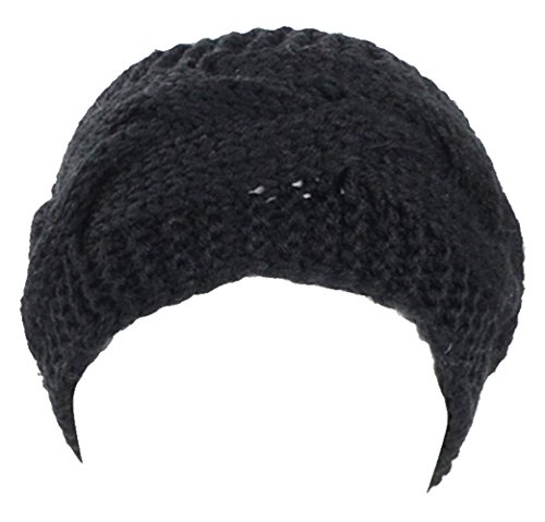 BYOS Womens Winter Cable Crochet Knit Headband (Black Cable)