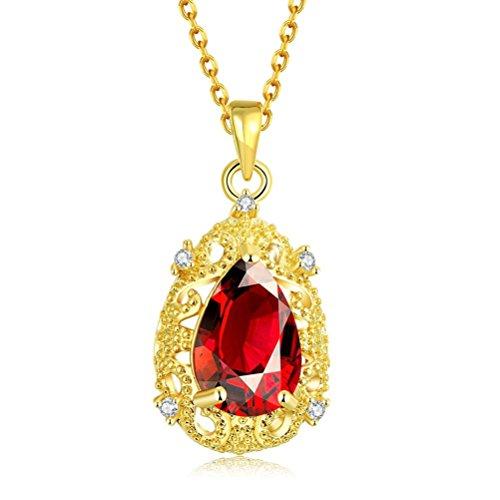 SunIfSnow Women Fashion Luxury Red Blue Drop Zircon Elegant Necklaces