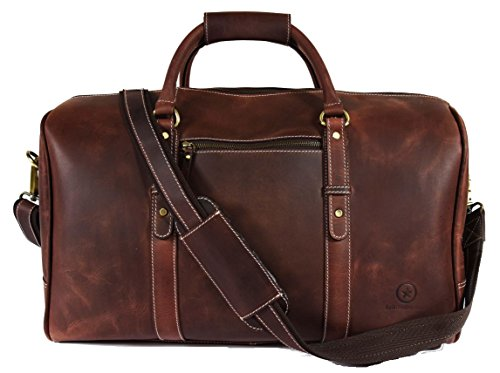 "20"" Leather Travel Duffle Bag 