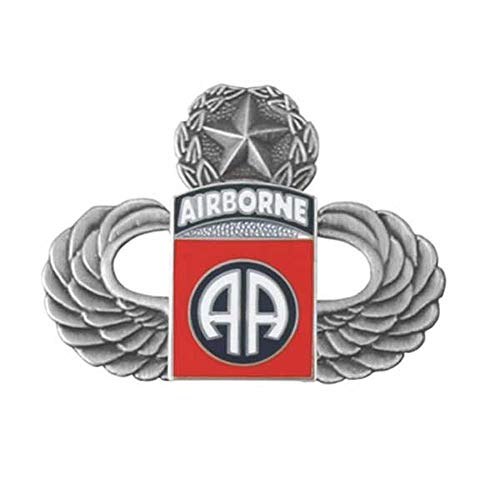 - Mitchell Proffitt Silver Master Paratrooper Wings with 82nd Airborne Division Lapel Pin, Platinum Red Blue, 1 1/4 inch