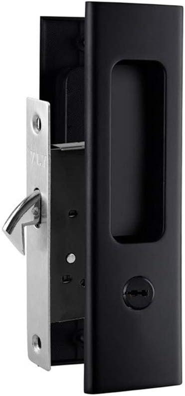 homdsim baño cerraduras llave cerraduras de mango de palanca de puerta corredera pegadas conjuntos repuesto para puerta negro