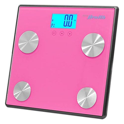 Pyle Health PHLSCBT4PN Bluetooth Digital Weight Personal Health Scale with Wireless Smartphone Transfer, Pink by Pyle