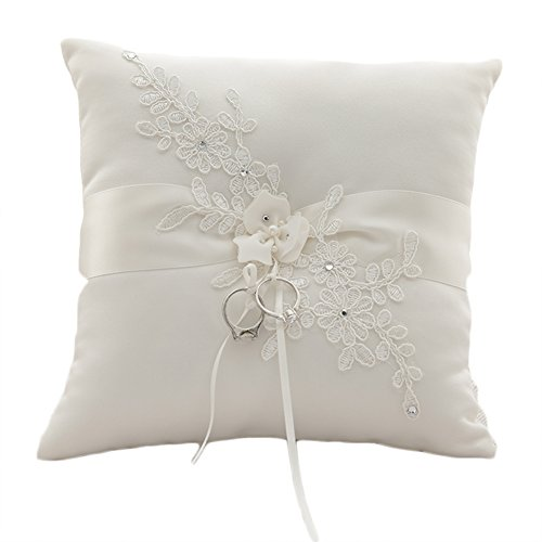 Lace Wedding Ring Pillow - Lace Pearl Embroided Satin Flower Wedding Ring Bearer Pillow 7.8 Inch x 7.8 Inch (Ivory Satin)