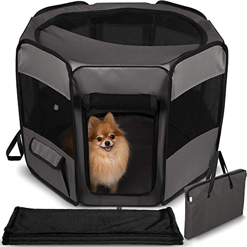 Dog Playpen with Blanket - Portable Soft Sided Mesh Indoor & Outdoor Exercise Play Pen for Pets - Black