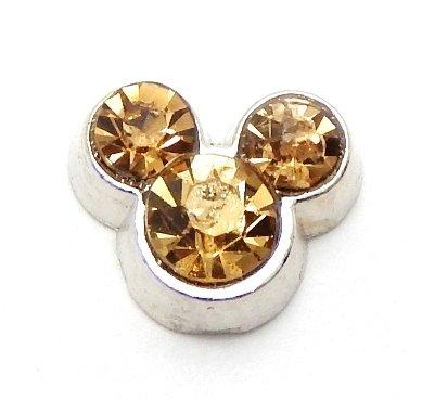 Cherityne Mickey Mouse November Birthstone Topaz Crystal Floating Charm for Locket Pendants