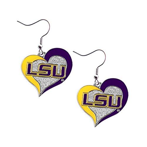 NCAA LSU Tigers Swirl Heart Earrings