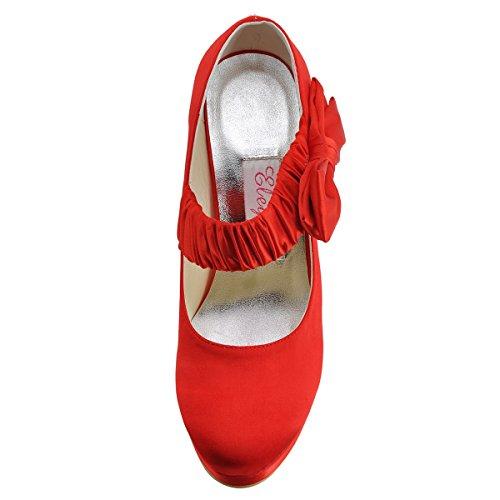 ElegantPark EP11119-PF Mujer Punta Rotonda Tacón de Aguja Satén Boda Zapatos de Novia Marfil Rojo