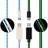 (2 Pack) USB to Micro USB Cable, Led Flowing Micro USB2.0 Fast Charging Cable Compatible Samsung, Huawei, HTC, Motorola, Nokia & More