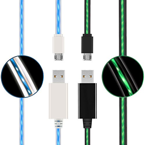 (2 Pack) USB to Micro USB Cable, Led Flowing Micro USB2.0 Fast Charging Cable Compatible Samsung, Huawei, HTC, Motorola, Nokia & More by ehoomely