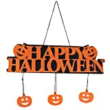 Dyllutrwhe Happy Halloween Hanging Door Plate Wall Sign Pumpkin Pendant Haunted House Decor Orange