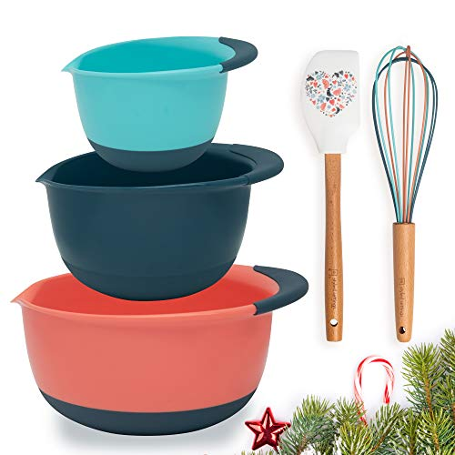 Vibrant Plastic Mixing Bowl Sets For Kitchen, Prep Bowls Set Includes Silicone Spatula & Silicone Whisk – Features a Non…