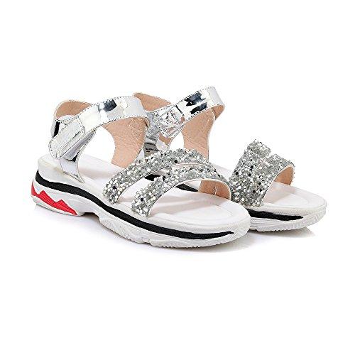 Mei&s La Mujer Informal del Talón Peep Toe Sandalias Planas Silver
