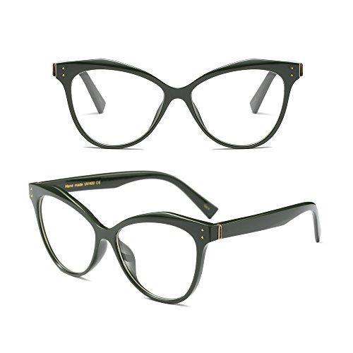 Gafas Manera Gato Moda Mujer BOZEVON Ojo Cadena con 6 Retro Clásico Vintage Nerd de Style A 5Tv8C8wqn