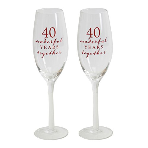 (Amore 40th Ruby Anniversary Champagne Flutes Glasses - Forty wonderful years together)