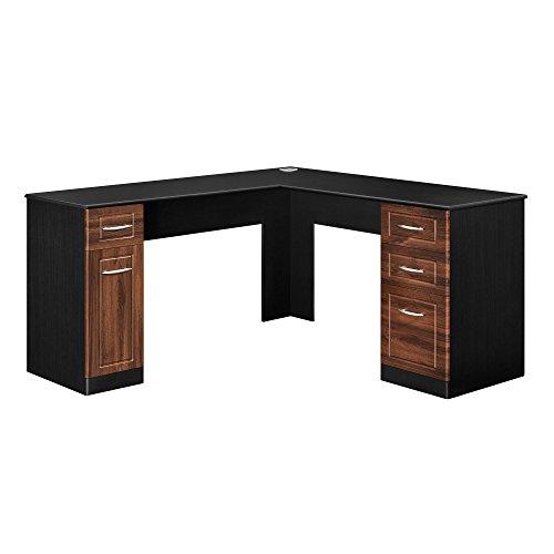 ameriwood home avalon l desk, black/cherry