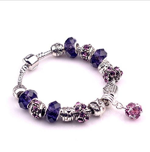 Price comparison product image Gorgeous Jewelry Purple Geometry Pendant Diy Crystal Beads Owl Pattern Bracelets of Pandora Jewellery