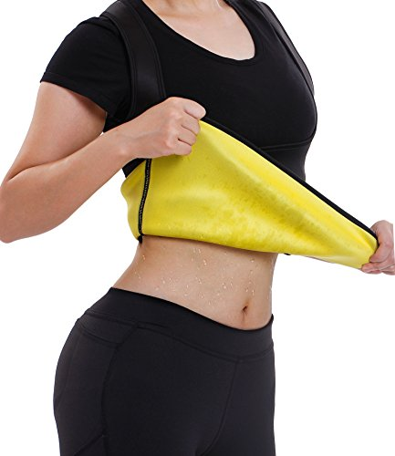Gotoly Body Shaper Waist Trainer Tummy Fat Burner Sweat Tank Top Weight Loss Neoprene(XL, Black(Neoprene Sweating))