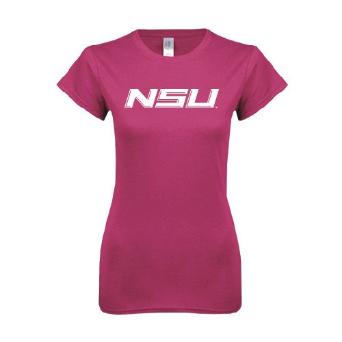 Norfolk State Ladies SoftStyle Junior Fitted Fuchsia Tee 'NSU'