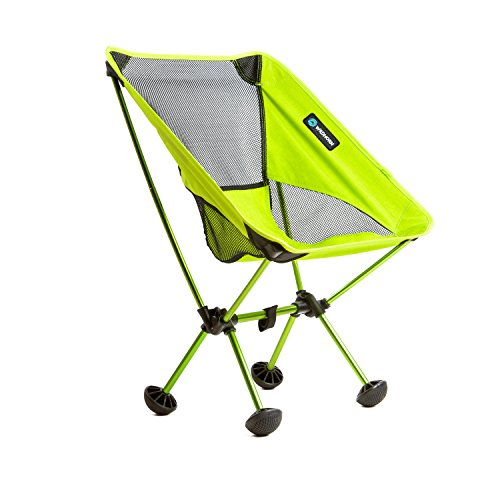 WildHorn Outfitters Terralite Portable Camp / Beach Chair (Supports 350 lbs) with TerraGrip Feet - Neon Green