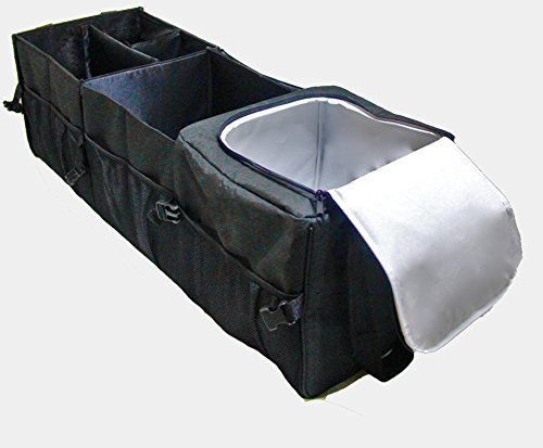 Untimate Car Trunk Organizer - Best for SUV, Vehicle, Truck, Auto, Grocery, Home & Garage - With Premium Insulation Cooler Bag, 12 Pockets, Adjustable - Mall Springs Cool