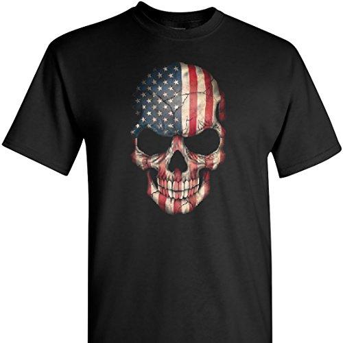 Patriotic Skull on a Black Short Sleeve T Shirt