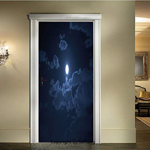 baihemiya Applique Sticker,Full-Moon-Appearing-Among-Dark-Clouds-Scenic-Mysterious-Midnight-Dusk-Foggy-Heavens,W30.3xL78.7inch,for Home Decor Self-Adhesive Removable Art Door DecalsDark-Blue