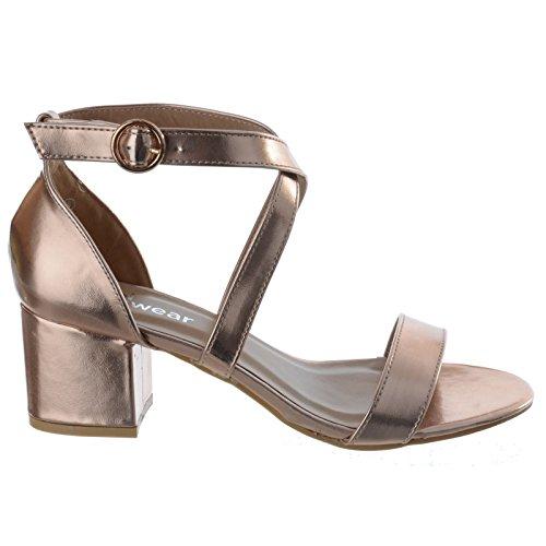 Blockabsatz Riemchen metallisch Knöchelriemen MID Damen NIEDRIG Rotgold Größe Schuhe offen Peeptoe Sandalen Damen Party 1EnF6Awqx