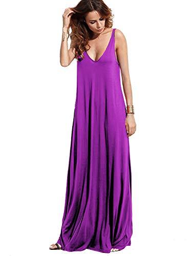 V-neck Tank Dress - Verdusa Women's Casual Sleeveless Deep V Neck Knitted Shift Sexy Maxi Long Dress Purple XS