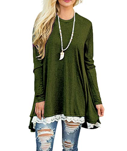 WEKILI Women's Tops Long Sleeve Lace Scoop Neck A-line Tunic Blouse ArmyGreen XL/US 16-18