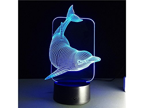 (Yunqir Compatible 3D Dolphin LED Light Figure Illusion 7 Color Changing Smart Touch USB Table Desk Lamps)
