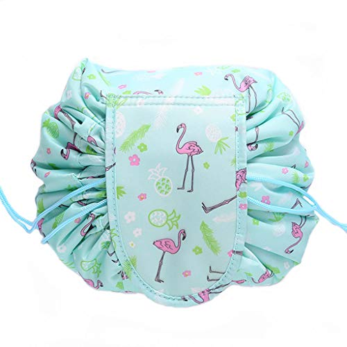 Kasmena Makeup Bag Lazy Makeup Organizer,Portable Drawstring Cosmetic Bag Large Capacity Travel Makeup Pouch Magic Bag for Womens Girls,Green Pineapple