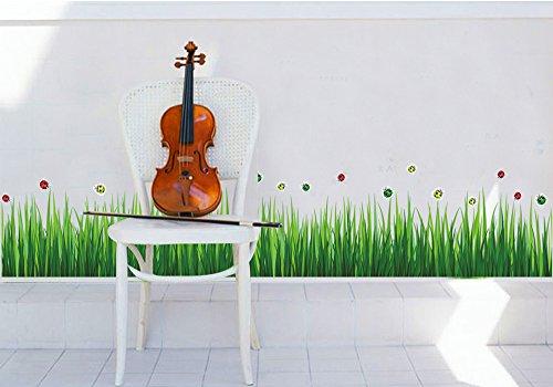 Alrens_DIY(TM) Cute Ladybugs Green Grass DIY Eco-friendly PVC Vinyl Baseboard Wall Sticker Removable Home Decoration Creative Art Décor Kids Nursery Room Kindergarten adesivo de parede Mural Living Room Decorative ()